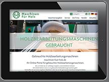Ansicht Webseite Maschinen für Holz