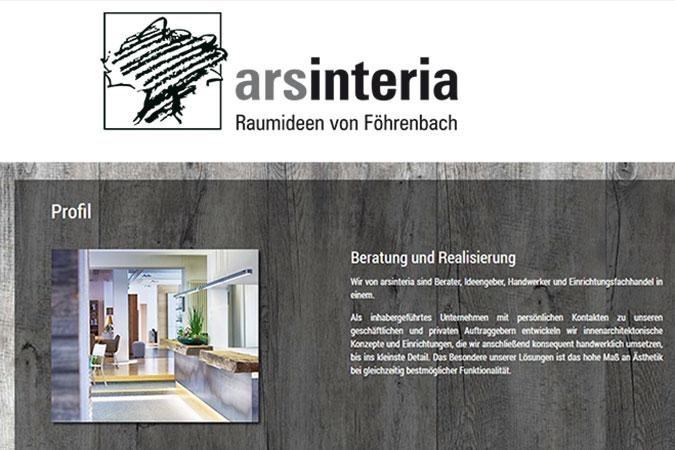 Ansicht Ausschnitt von Website und Logo arsinteria