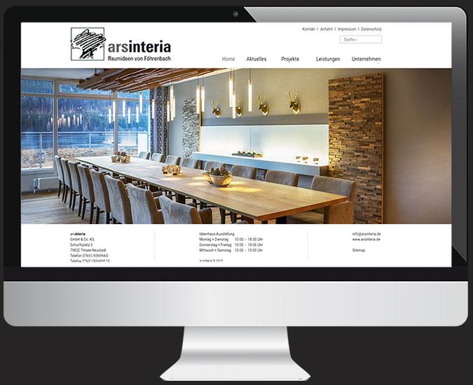 Ansicht Webseite www.arsinteria.de