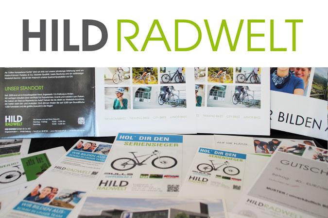 Ansicht Logo HILD RADWELT und Geschäftspapiere