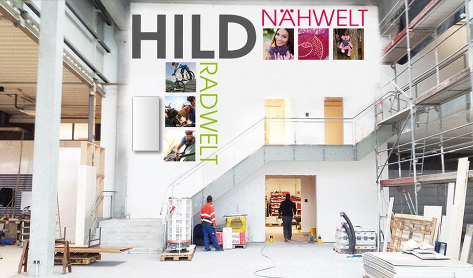 Illumination der Wandgestaltung  im Laden der HILD RADWELT