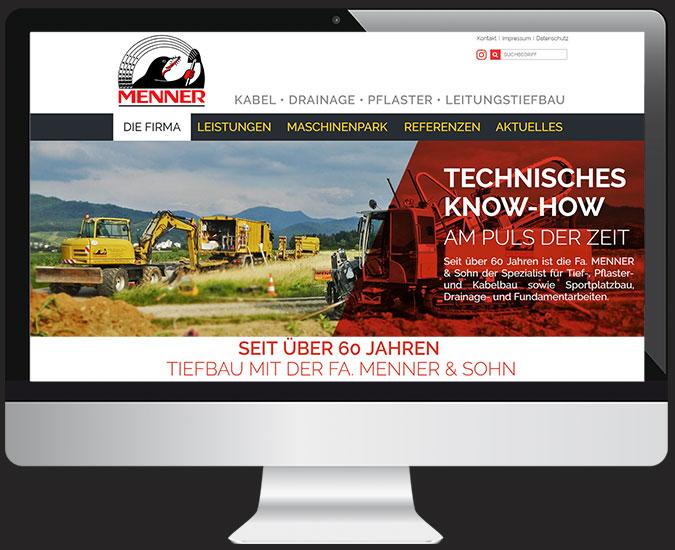 Ansicht Webseite www.menner-tiefbau.de