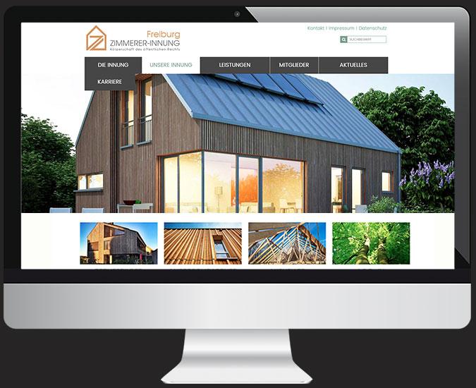 Ansicht Webseite www.zimmererinnung-freiburg.de